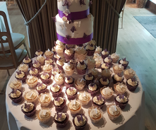 Two Tier Wedding cake - purple butterfly theme with cupcakes
